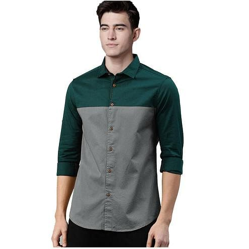Exotic Green-Grey Colored Casual Wear Pure Cotton Shirt