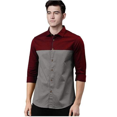 Elegant Red-Grey Colored Casual Wear Pure Cotton Shirt