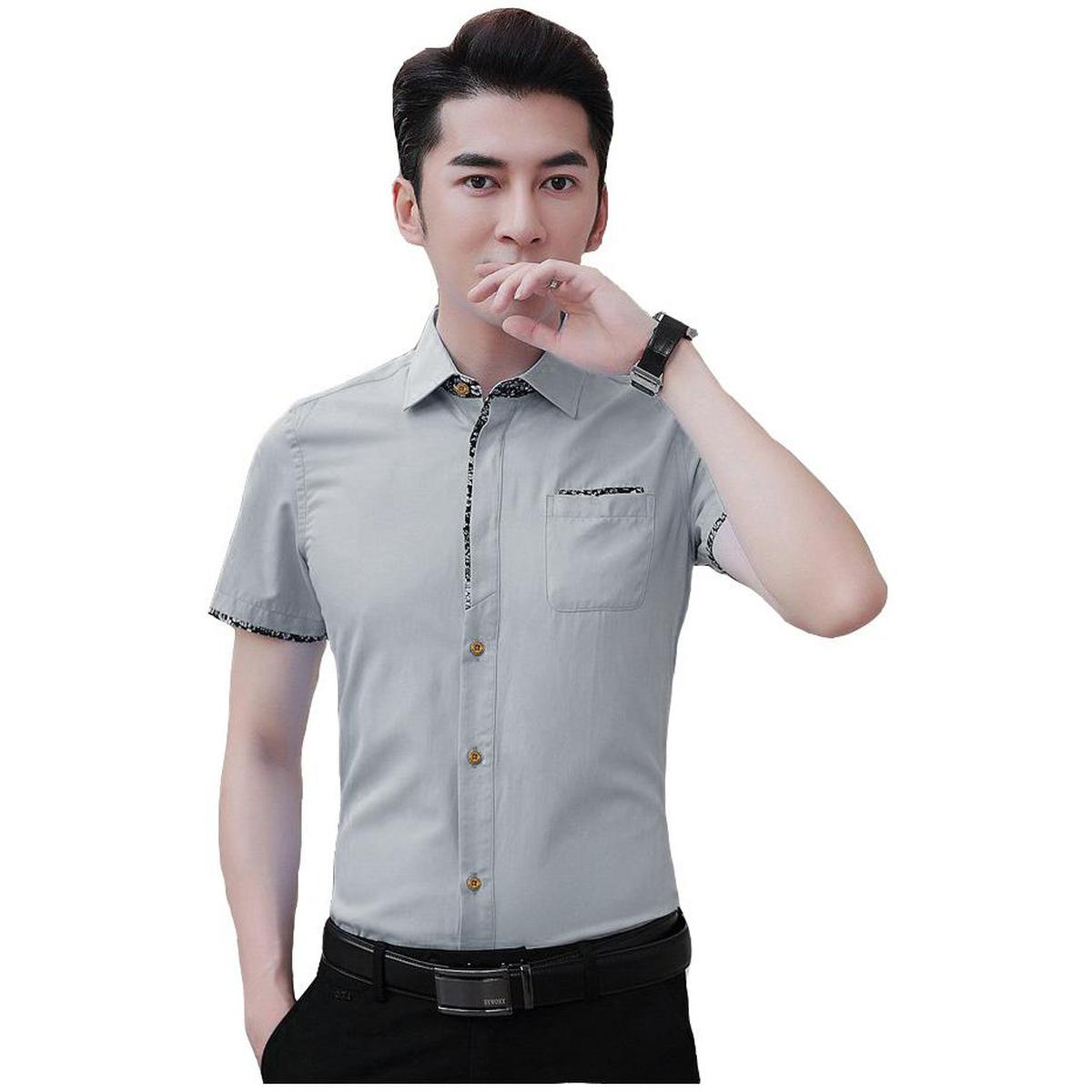 Pleasant Grey Colored Casual Wear Pure Cotton Shirt