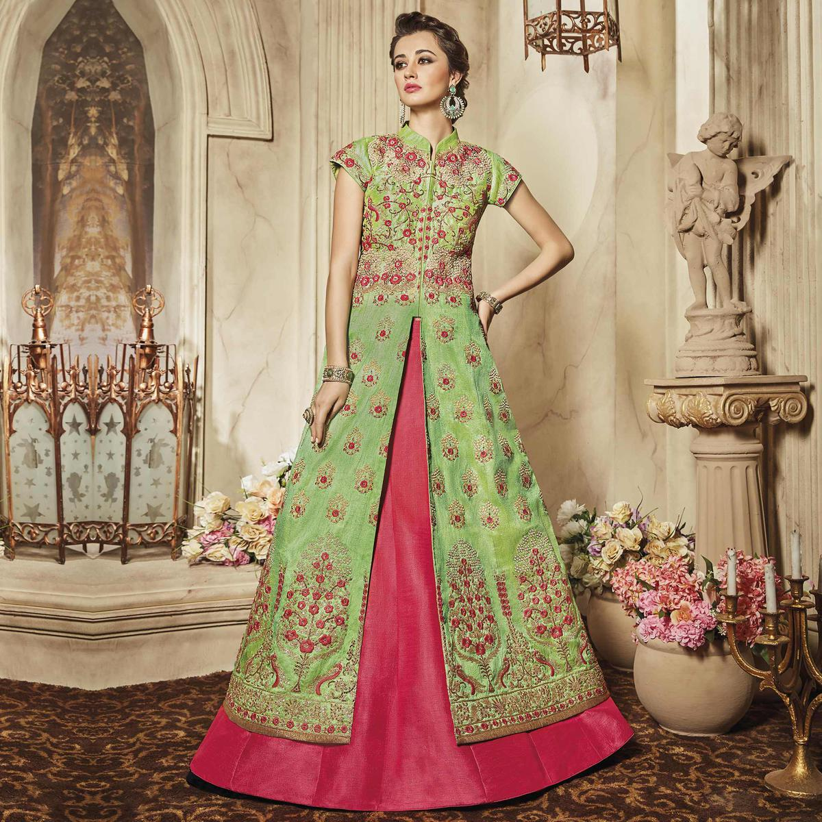 Graceful Green Designer Embroidered Raw Silk Lehenga Kameez
