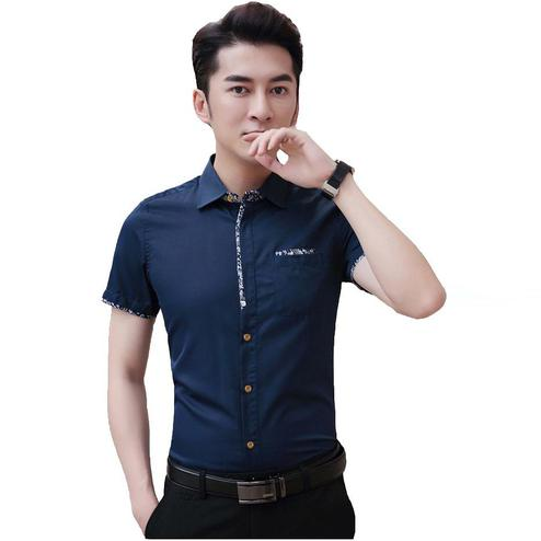 Opulent Navy Blue Colored Casual Wear Pure Cotton Shirt