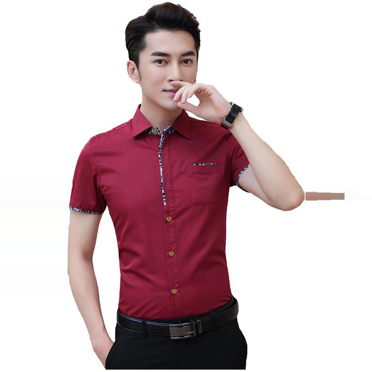 Energetic Red Colored Casual Wear Pure Cotton Shirt