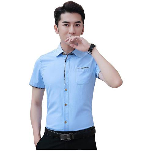 Exceptional Sky Blue Colored Casual Wear Pure Cotton Shirt