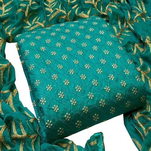 Lovely Turquoise Colored Partywear Embroidered Cotton Dress Material