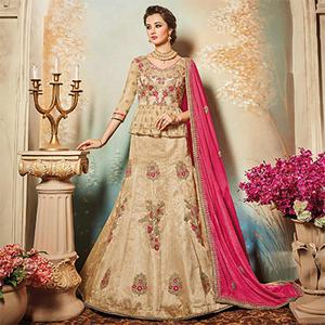 Elegant Beige Designer Embroidered Raw Silk Lehenga Choli
