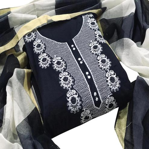 Breathtaking Black Colored Casual Wear Embroidered Chanderi Cotton Dress Material