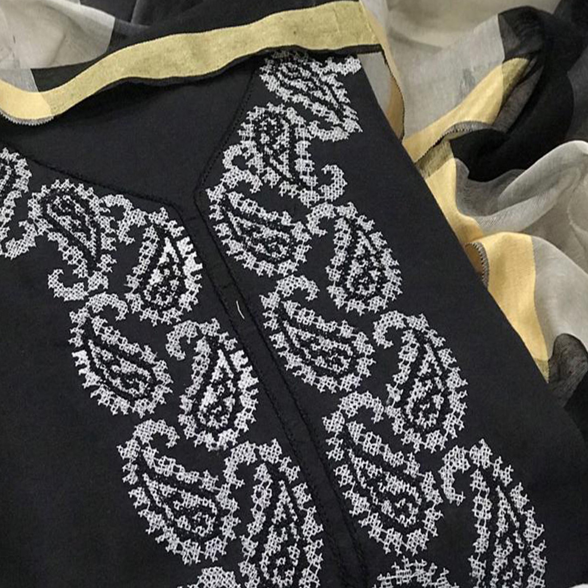 Ravishing Black Colored Casual Wear Embroidered Chanderi Cotton Dress Material