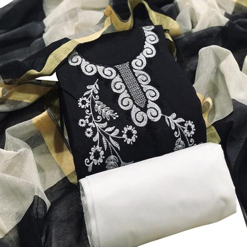 Dazzling Black Colored Casual Wear Embroidered Chanderi Cotton Dress Material