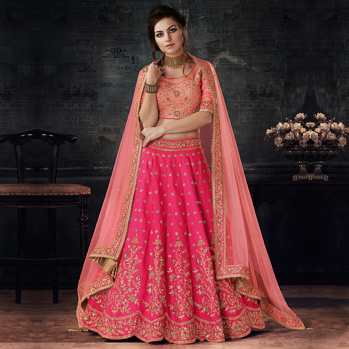 Gorgeous Pink-Peach Designer Embroidered Dual Tone Silk Lehenga Choli