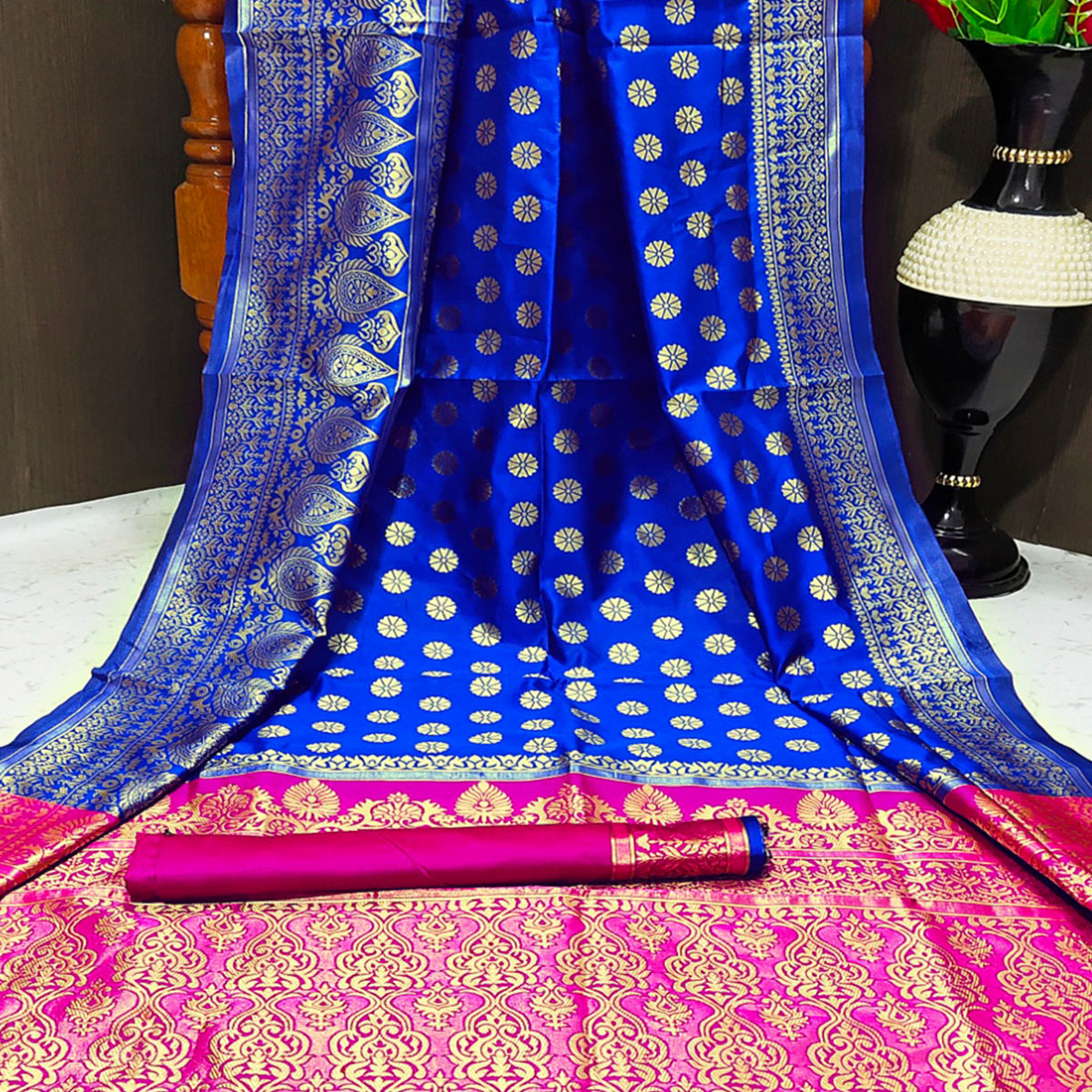 Elegant Royal Blue Colored Festive Wear Woven Banarasi Silk Saree