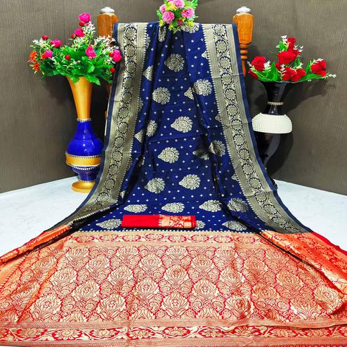 Pleasant Blue Colored Festive Wear Woven Banarasi Silk Saree