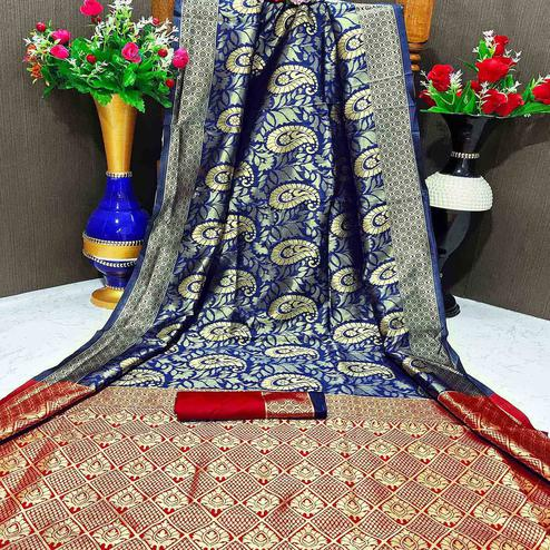 Glowing Blue Colored Festive Wear Woven Banarasi Silk Saree