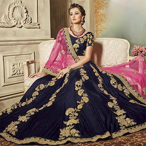 Mesmerising Navy Blue Designer Embroidered Velvet Lehenga Choli