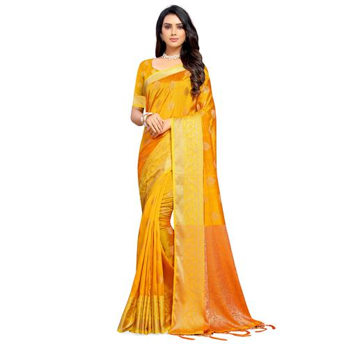 Excellent Yellow Colored Festive Wear Woven Sana Silk Saree With Tassels