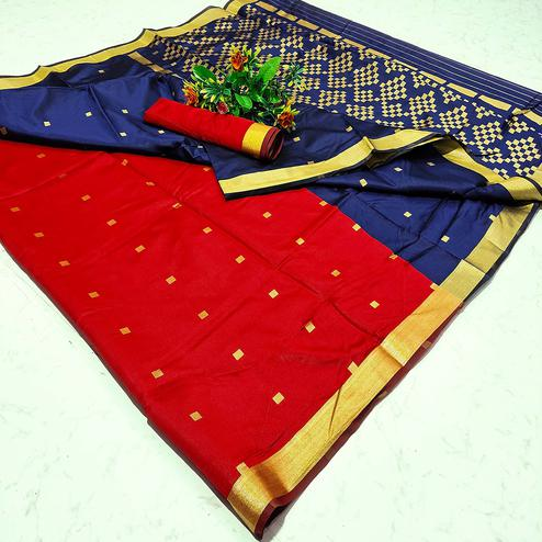 Alluring Red Colored Festive Wear Woven Soft Silk Saree