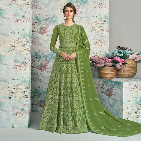 Charming Green Colored Party Wear Embroidered Heavy Faux Georgette Anarkali Suit