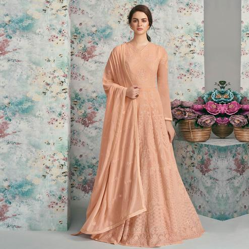 Delightful Peach Colored Party Wear Embroidered Heavy Faux Georgette Anarkali Suit