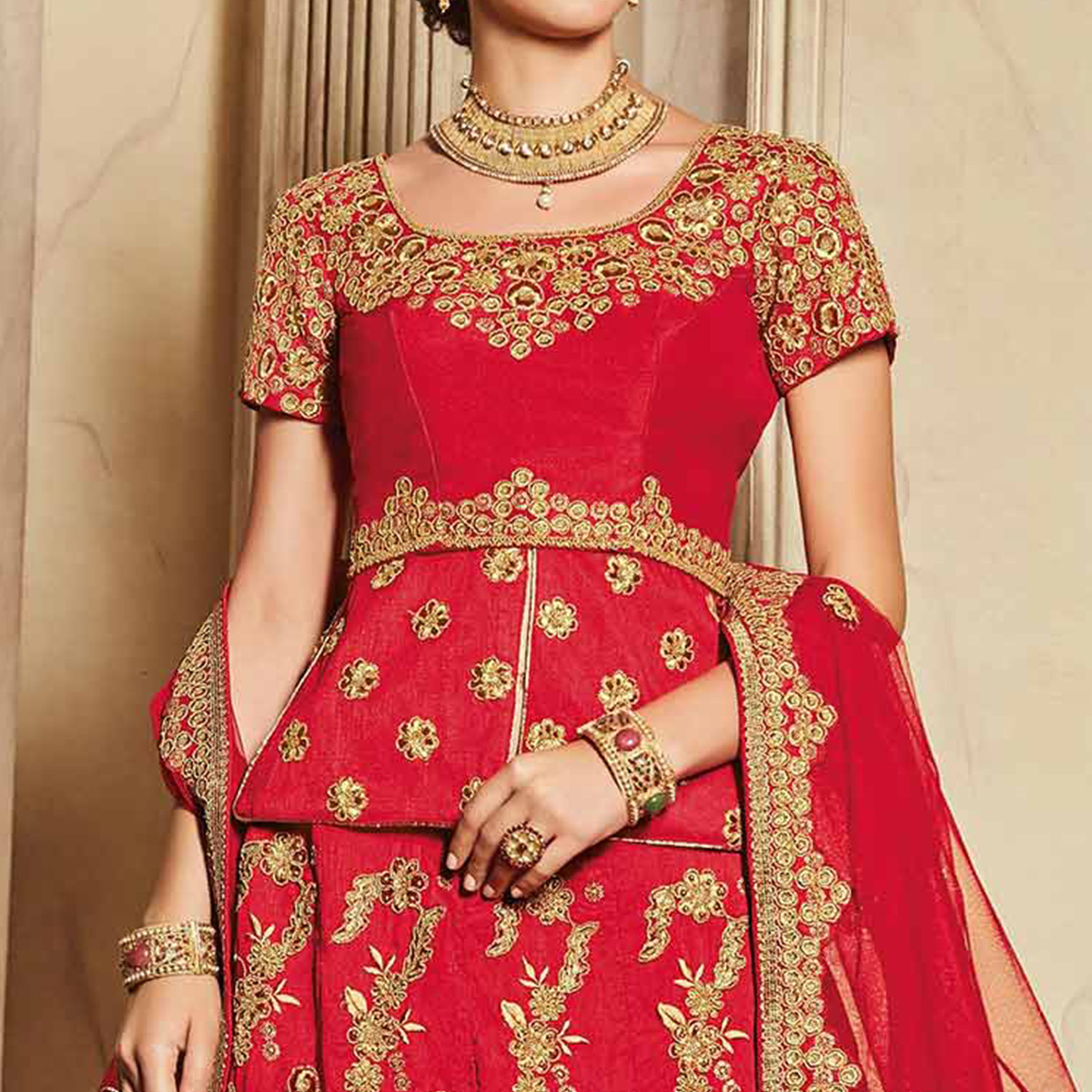 Ravishing Red Designer Embroidered Raw Silk Lehenga Choli
