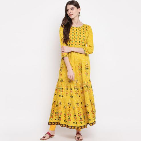 Energetic Yellow Colored Party Wear Floral Printed Flared Ankle Length Rayon Kurti