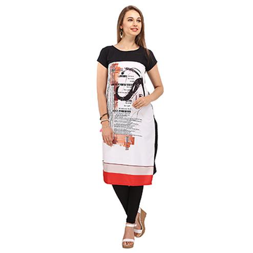 Black- White Casual Wear Printed Kurti