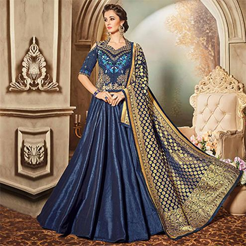 Classy Navy Blue Designer Embroidered Raw Silk Lehenga Choli