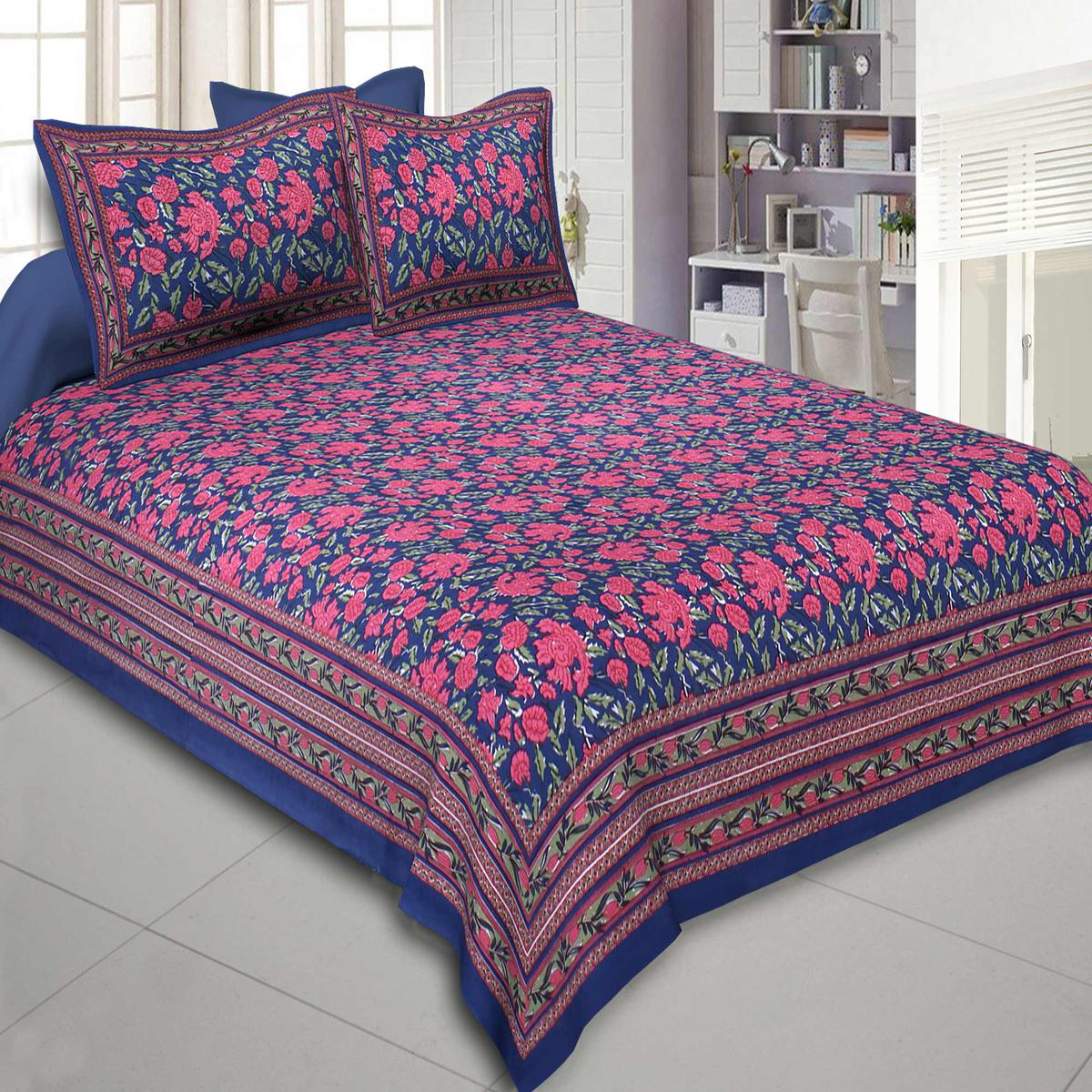 Attractive Blue Colored Floral Decor Print Cotton Double Bedsheet With 2 Pillow Cover