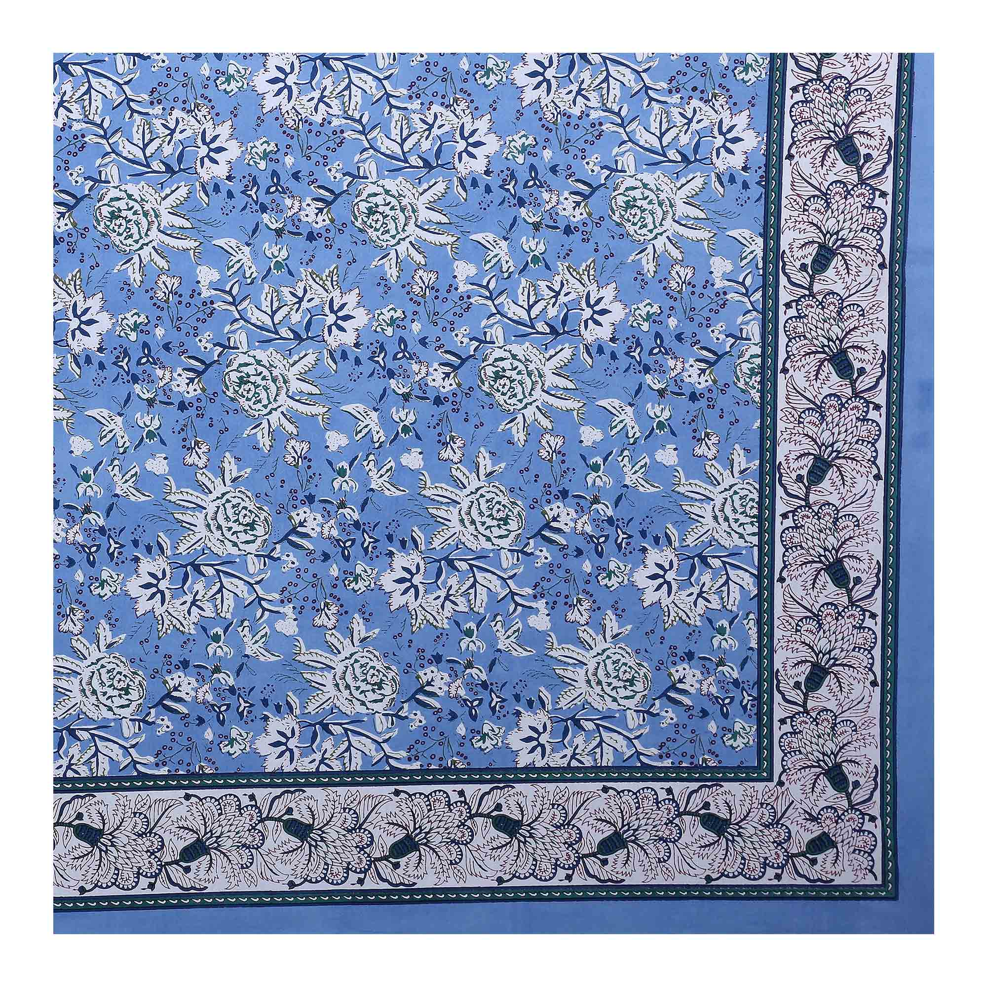 Blooming Blue Colored Floret Bed Print Cotton Double Bedsheet With 2 Pillow Cover