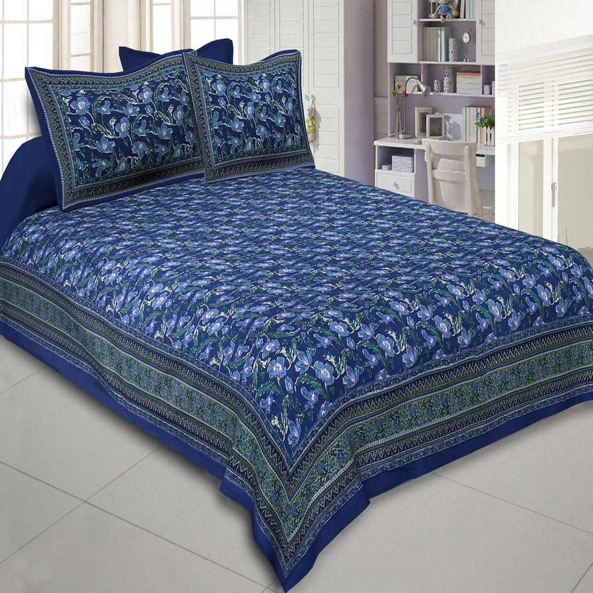 Charming Blue Colored Iconic Iris Print Cotton Double Bedsheet With 2 Pillow Cover