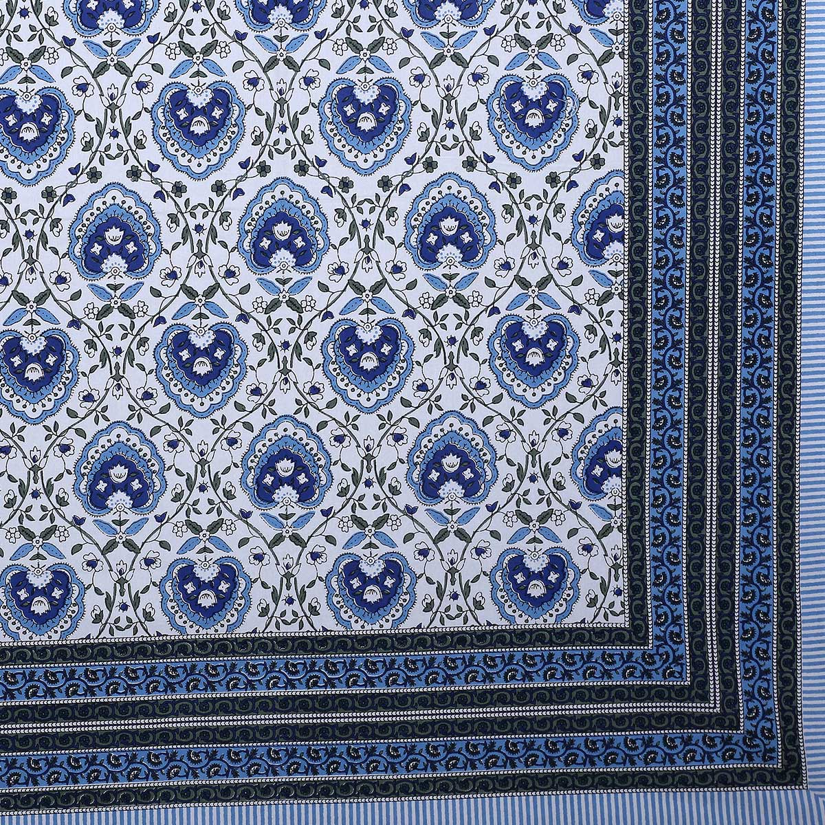 Engrossing Blue Colored Flickering Bale Print Cotton Double Bedsheet With 2 Pillow Cover