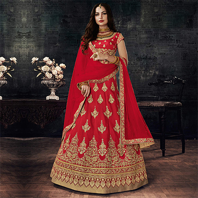 Stunning Red Designer Embroidered Silk Lehenga Choli
