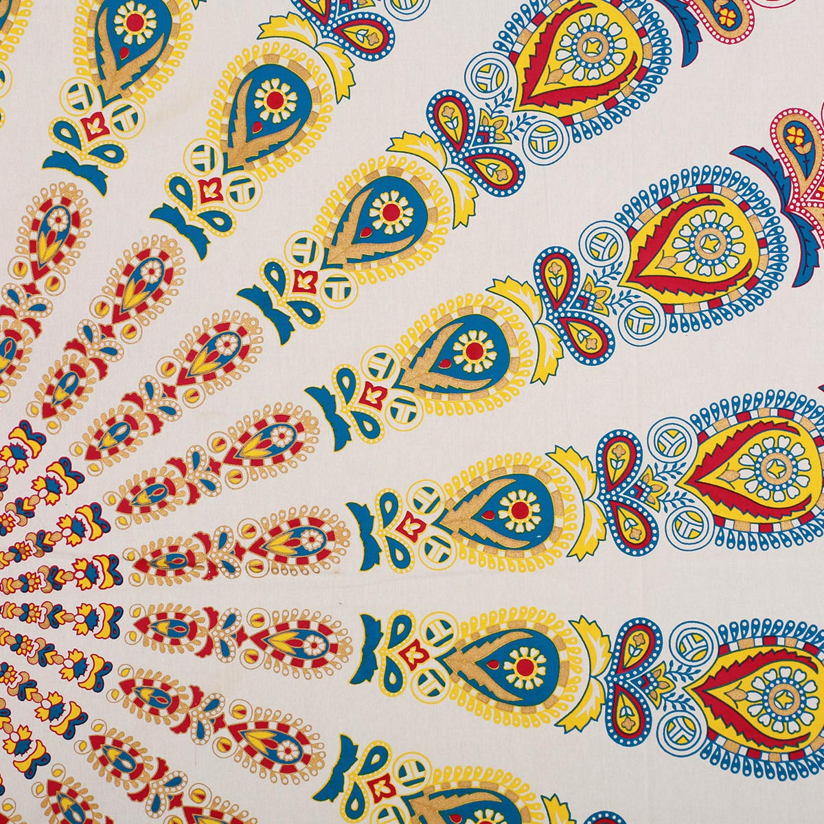 Radiant Cream-Yellow Colored Mandala Khari Gold Print Cotton Double Bedsheet with 2 Pillow Covers