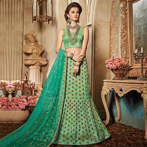 Gorgeous Green Designer Embroidered Raw Silk Lehenga Choli