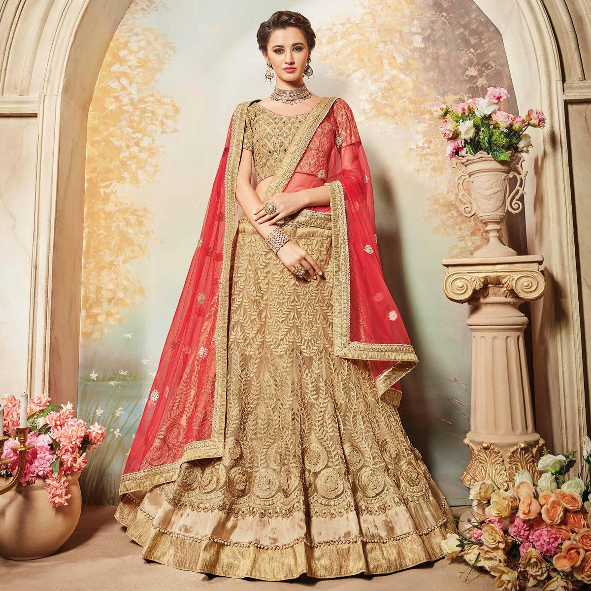 ead33b99d75d70 Buy Breathtaking Beige Designer Embroidered Net Lehenga Choli for womens  online India, Best Prices, Reviews - Peachmode