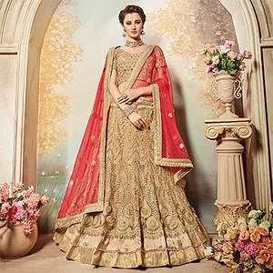 Breathtaking Beige Designer Embroidered Net Lehenga Choli