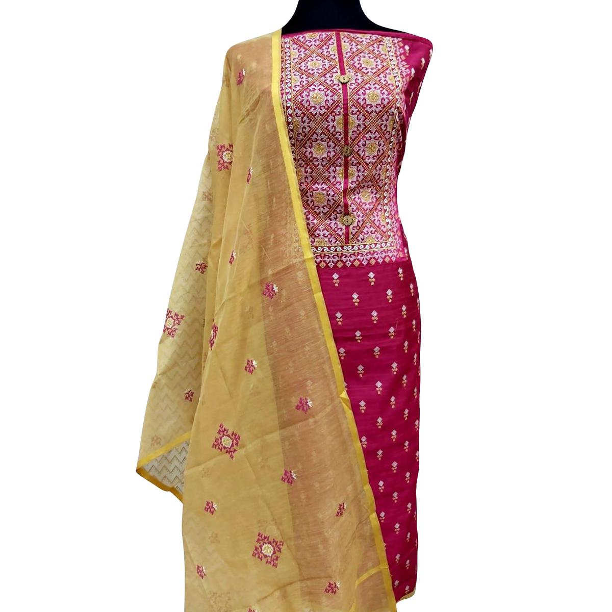 Beautiful Pink Colored Partywear Embroidered Cotton Dress Material