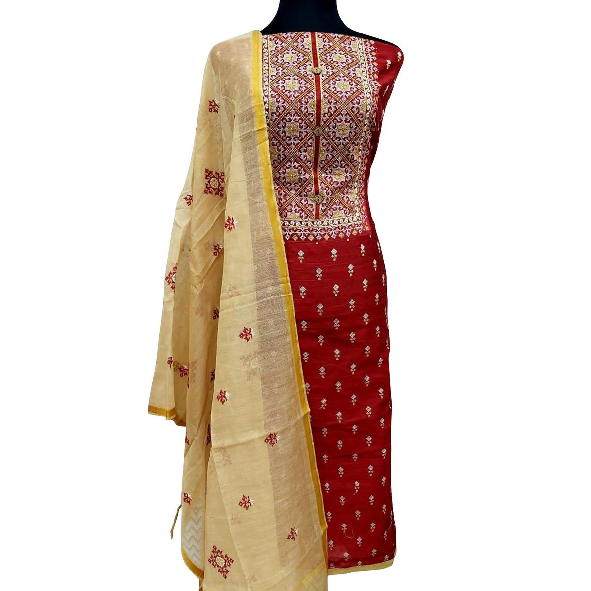 Graceful Red Colored Partywear Embroidered Cotton Dress Material