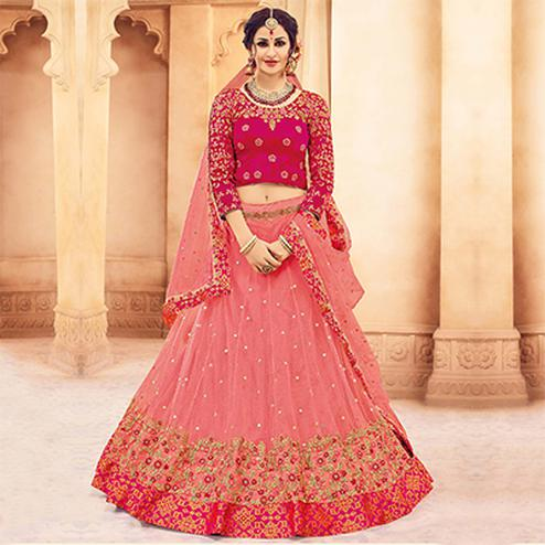 Classy Pink Designer Embroidered Butterfly Net Lehenga Choli