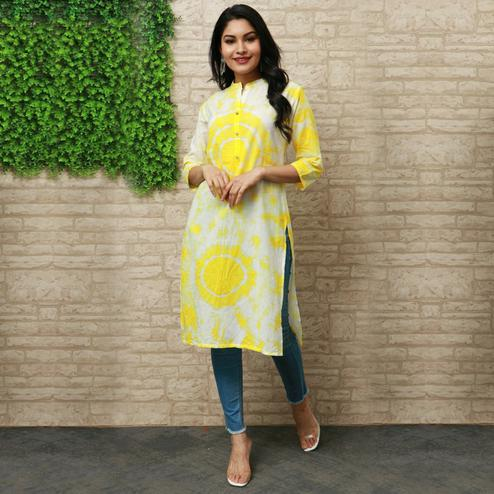 Pooja Fashion - Yellow Colored Casual Wear Printed Knee Length Cotton Kurti