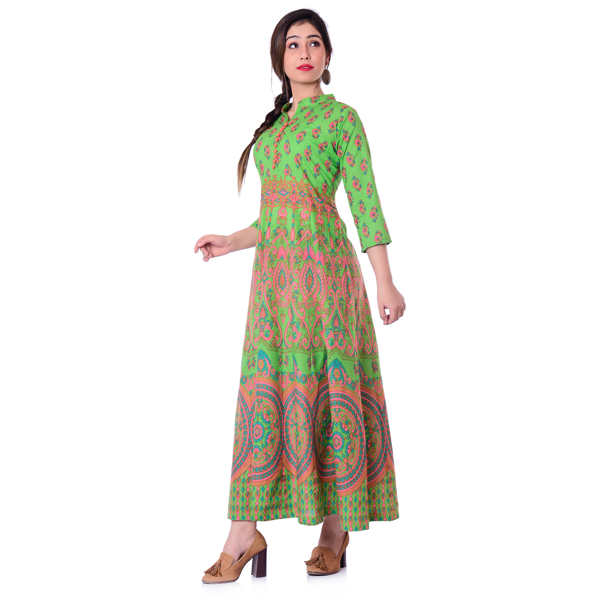 Pooja Fashion - Green Colored Casual Wear Printed Ankle Length Cotton Kurti