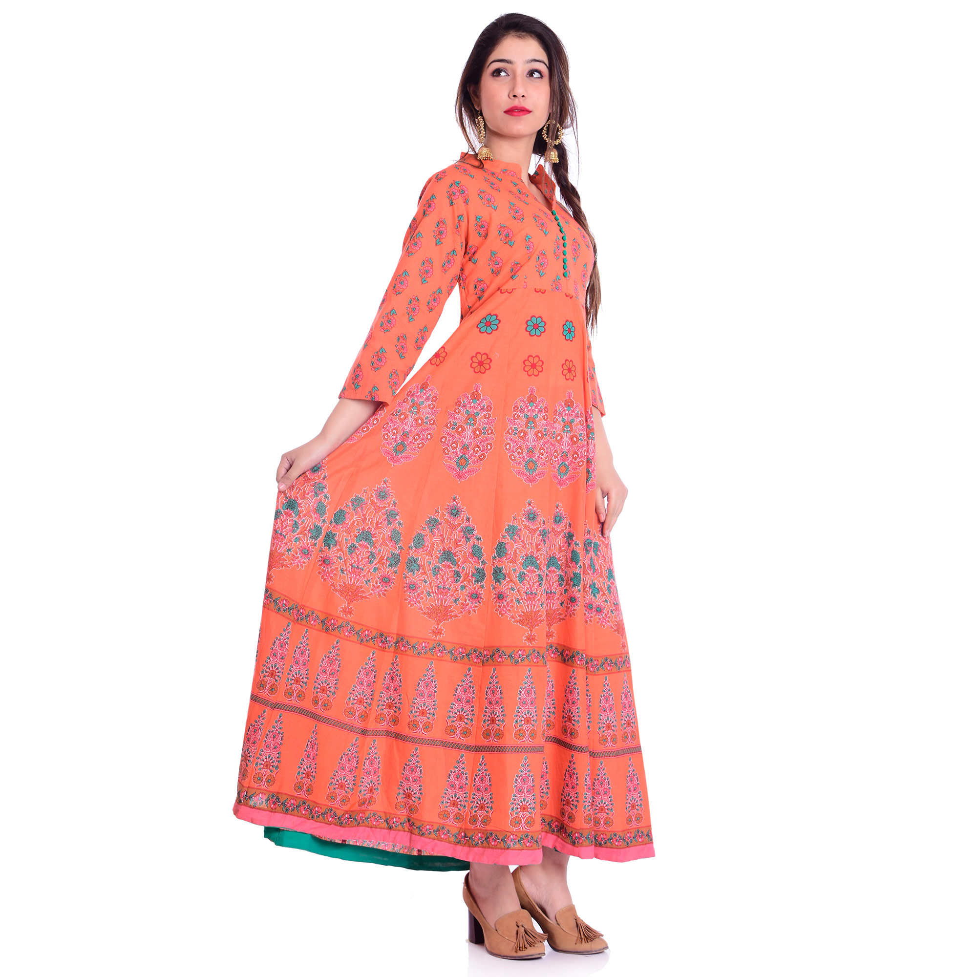 Pooja Fashion - Pink Colored Casual Wear Printed Ankle Length Cotton Kurti