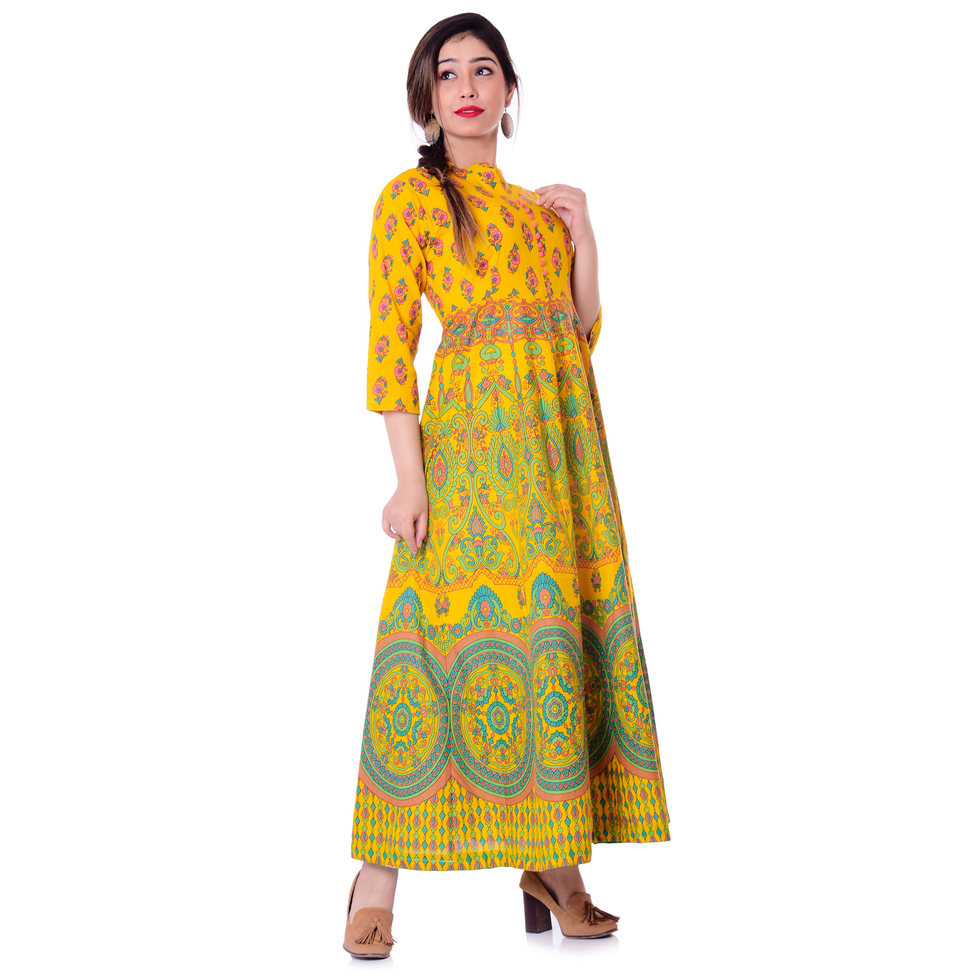 Pooja Fashion - Yellow Colored Casual Wear Printed Ankle Length Cotton Kurti