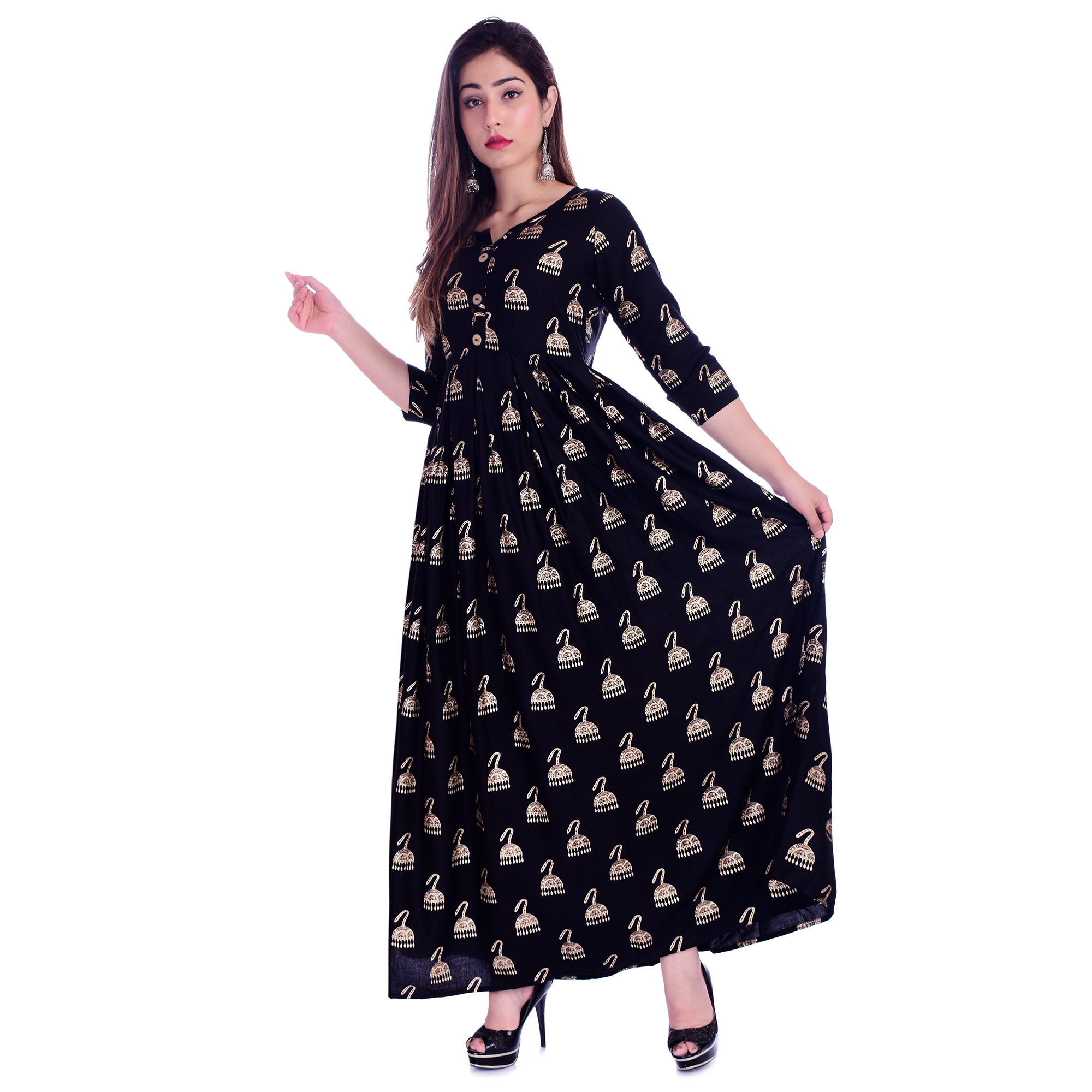 Pooja Fashion - Black Colored Casual Wear Printed Ankle Length Rayon Kurti