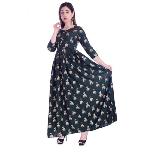 Pooja Fashion - Dark Green Colored Casual Wear Printed Ankle Length Rayon Kurti