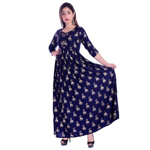 Pooja Fashion - Navy Blue Colored Casual Wear Printed Ankle Length Rayon Kurti