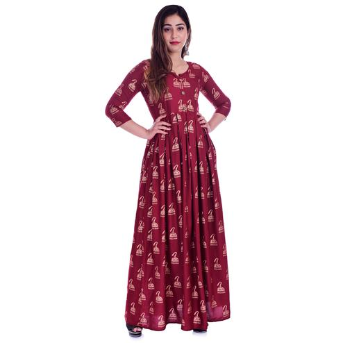 Pooja Fashion - Red Colored Casual Wear Printed Ankle Length Rayon Kurti