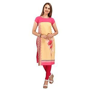Yellow Digital Print Casual Kurti