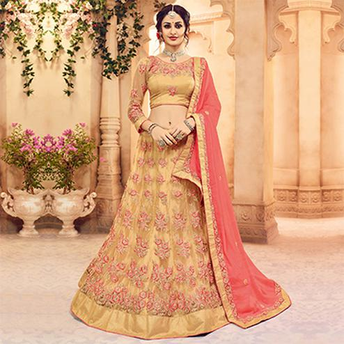Gorgeous Beige Designer Embroidered Butterfly Net Lehenga Choli