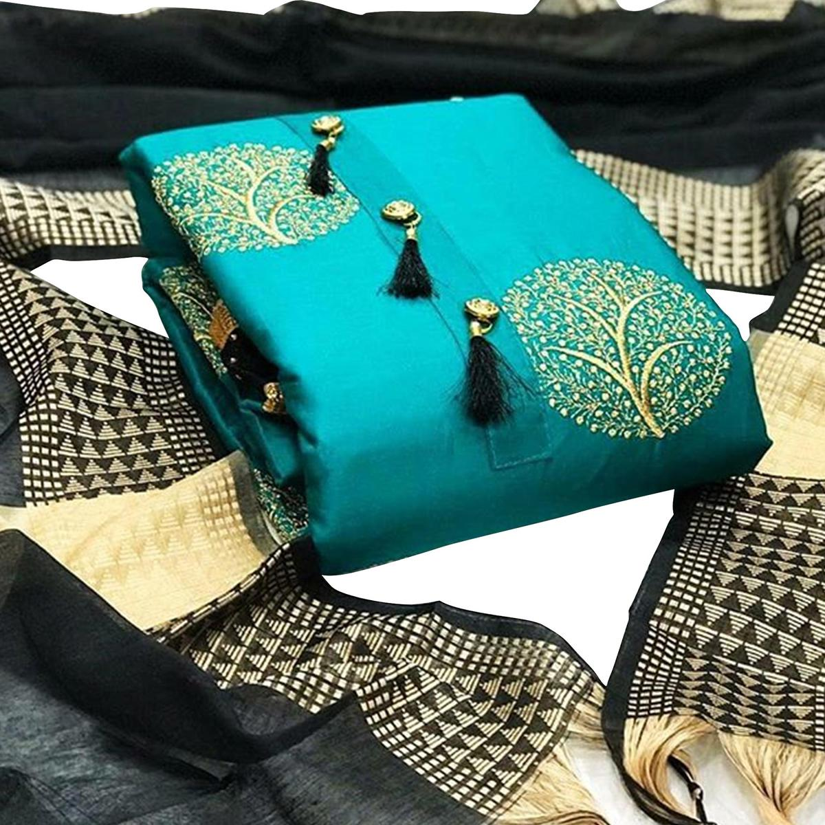 Lovely Turquoise Blue Colored Partywear Embroidered Cotton Dress Material