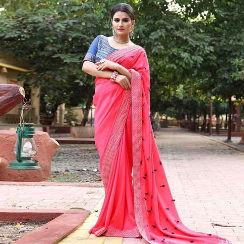 Majesty Pink Colored Partywear Diamond Work Zoya Silk Saree