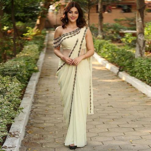 Ethnic Cream Colored Partywear Lace Border Georgette Saree